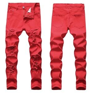 NEW Men's Red Distressed Slim Fit Jeans